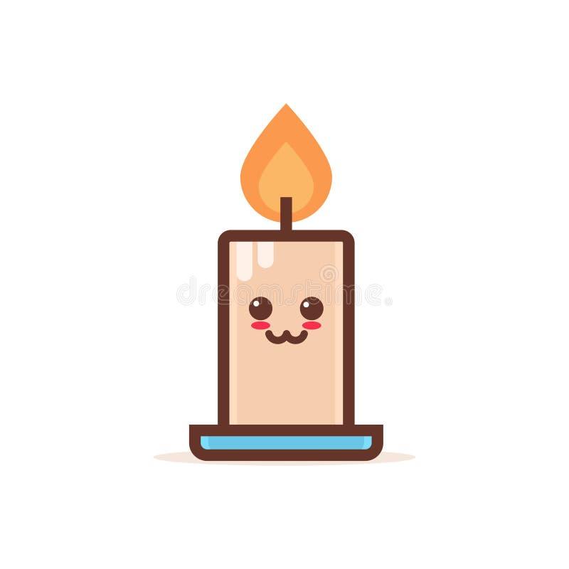 Nette brennende Kerzenkarikaturcomicfigur mit lächelnder Gesicht glücklicher emoji kawaii Artflammenfeuer-Lichtfeier lizenzfreie abbildung