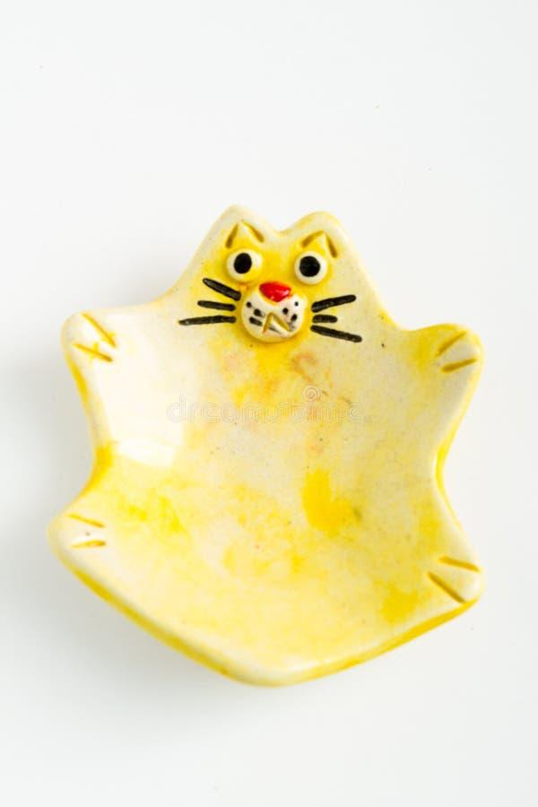 Nette bunte keramische Cat Ashtrays stockbild