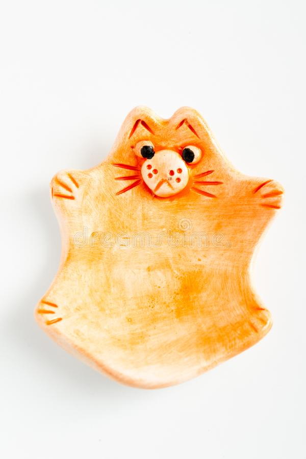 Nette bunte keramische Cat Ashtrays lizenzfreies stockfoto