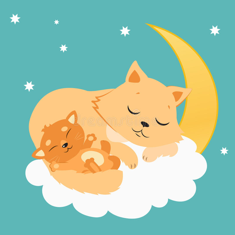 Nette Cat And Kitten Sleeping On der Mond Süße Kitty Cartoon Vector Card lizenzfreie abbildung