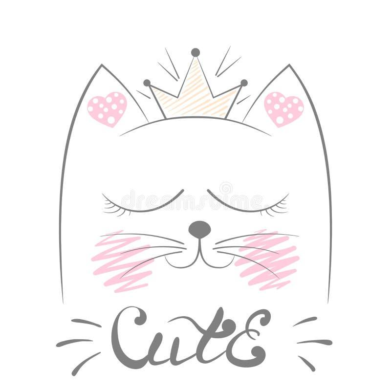 Nette Cat Meow Illustration Lustige Prinzessin und Krone für Druckt-shirt Hand gezeichnete Art lizenzfreie abbildung