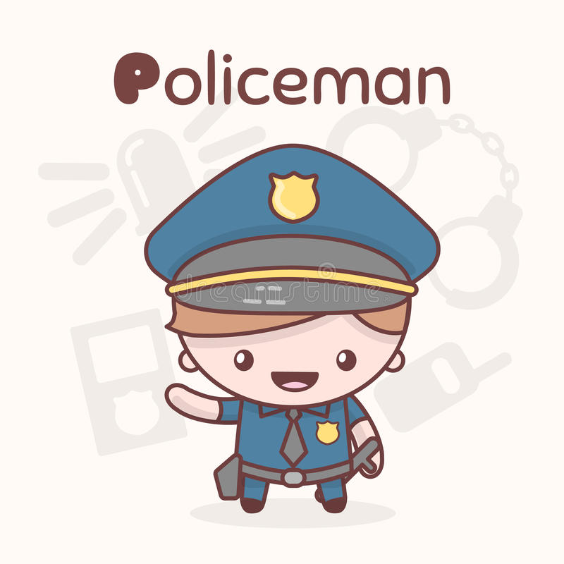 Nette chibi kawaii Charaktere Alphabetberufe Buchstabe P - Polizist lizenzfreie abbildung
