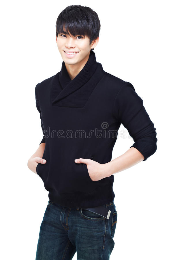 Nette chinesische Junge-folgendtür reizend Lächeln lizenzfreies stockbild