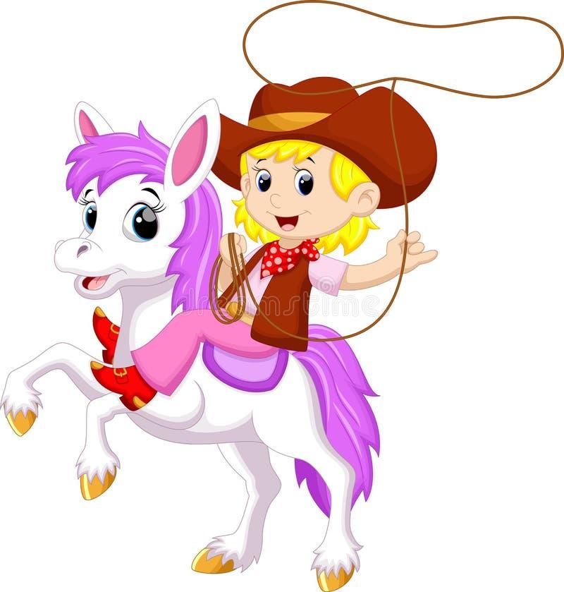 Nette Cowgirlkarikatur stock abbildung