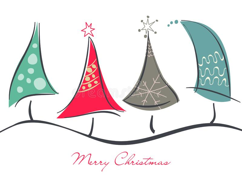 Nette dekorative Weihnachtsbäume vektor abbildung