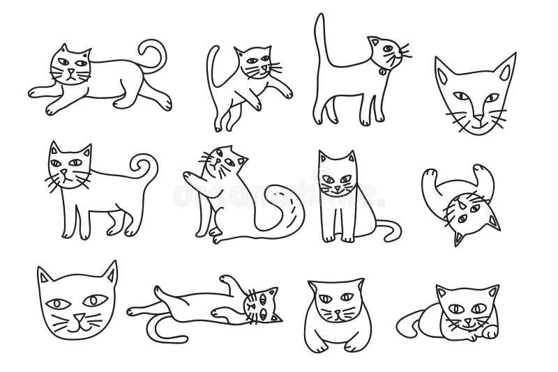 Nette des Ikonenvektors der Katze Hand gezeichnete gesetzte Linie Kunstillustration vektor abbildung