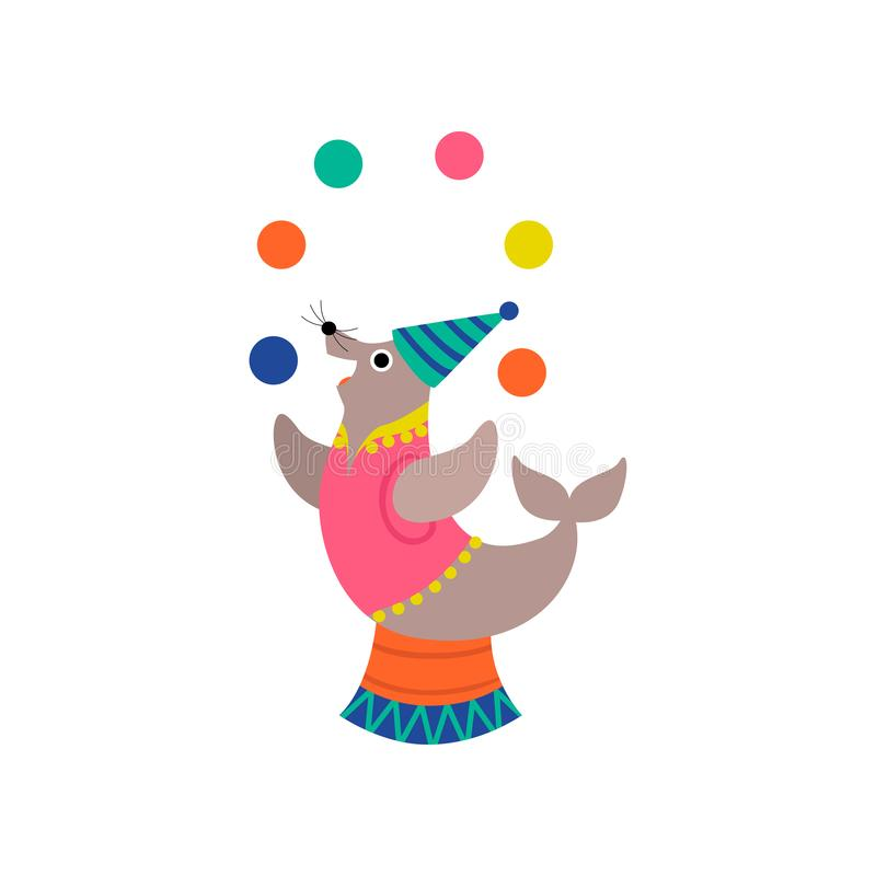 Nette Dichtungs-jonglierende Bälle auf Stadium, lustige Tierausführung in der Zirkus-Show-Vektor-Illustration stock abbildung