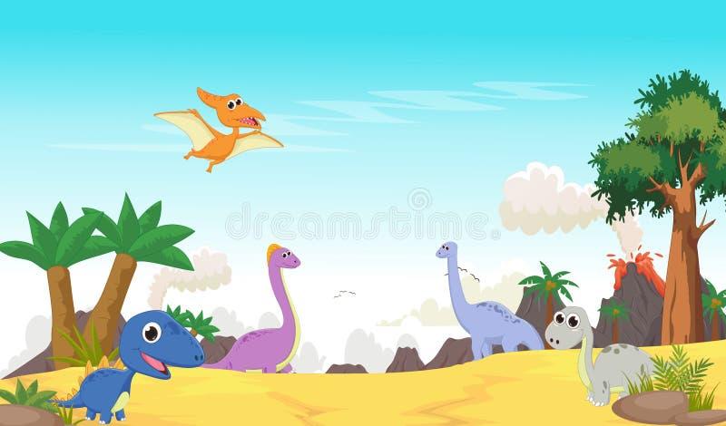 Nette Dinosaurierkarikatur mit prähistorischer Landschaft stock abbildung