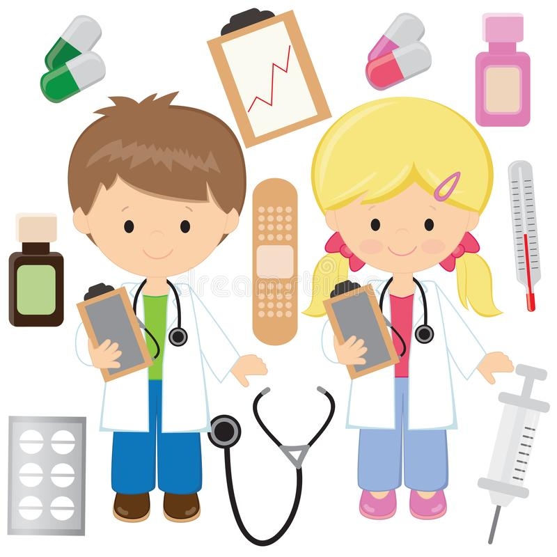 Nette Doktorvektor-Karikaturillustration Medizinvektor-Karikaturillustration lizenzfreie stockfotografie