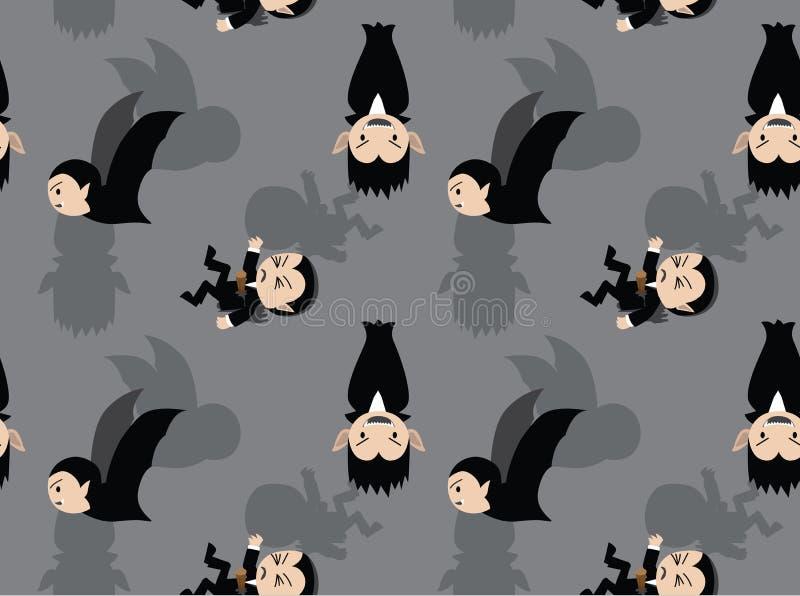 Nette Dracula-Karikatur Grey Background Seamless Wallpaper lizenzfreie abbildung
