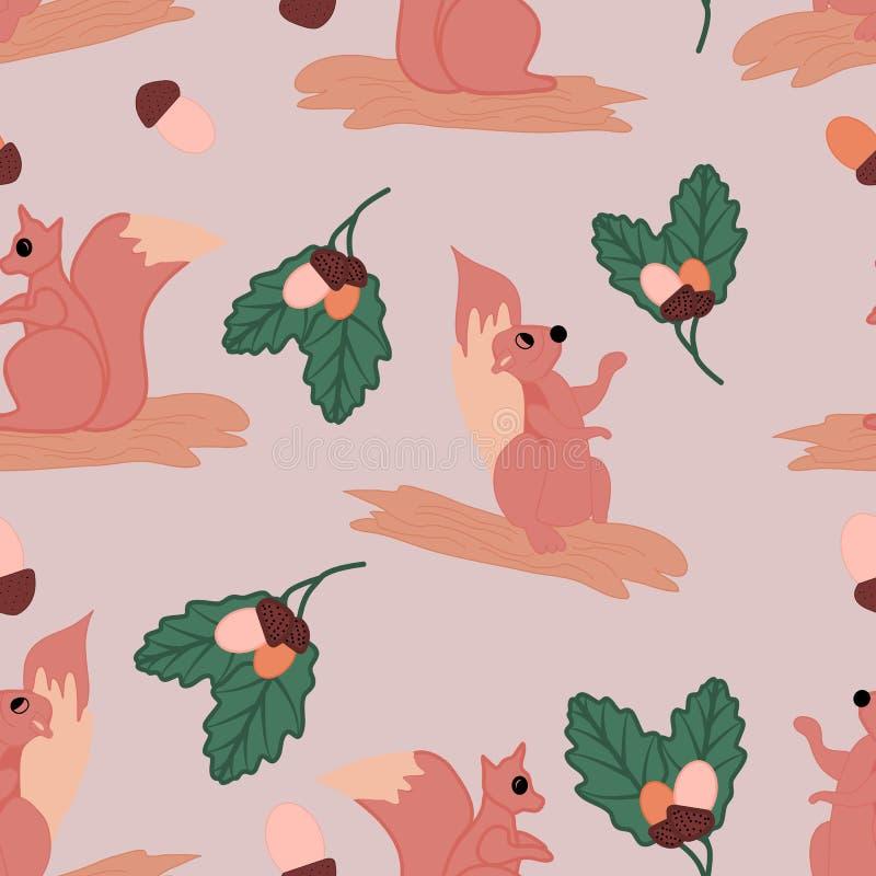 Nette Eichhörnchen mit Erdnüssen und Blättern, in einem nahtlosen Musterentwurf vektor abbildung