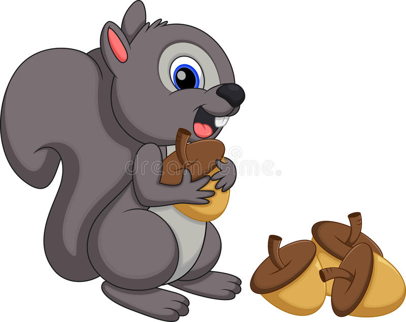 Nette Eichhörnchenkarikatur mit einem weißen Hintergrund stock abbildung