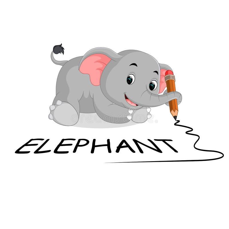 Nette Elefanten, die Bleistift halten vektor abbildung