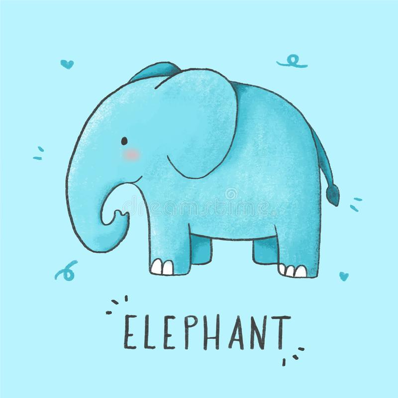 Nette Elefantkarikatur-Handgezogene Art stock abbildung