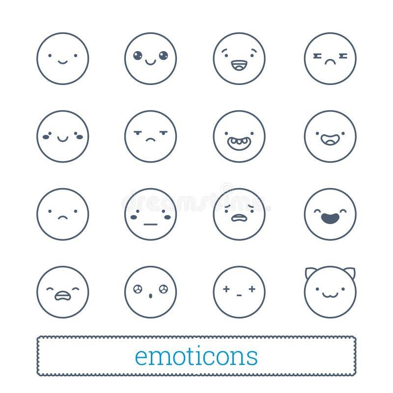 Nette Emoticons verdünnen Linie die eingestellten Ikonen Lineare Artsmileysymbole Einfache Leutegesichtsausdrücke für Chat des So vektor abbildung