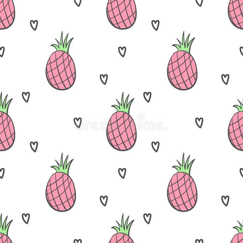 Nette Erdbeere und verziert mit den Herzen und Diamanten nahtlos stockbild