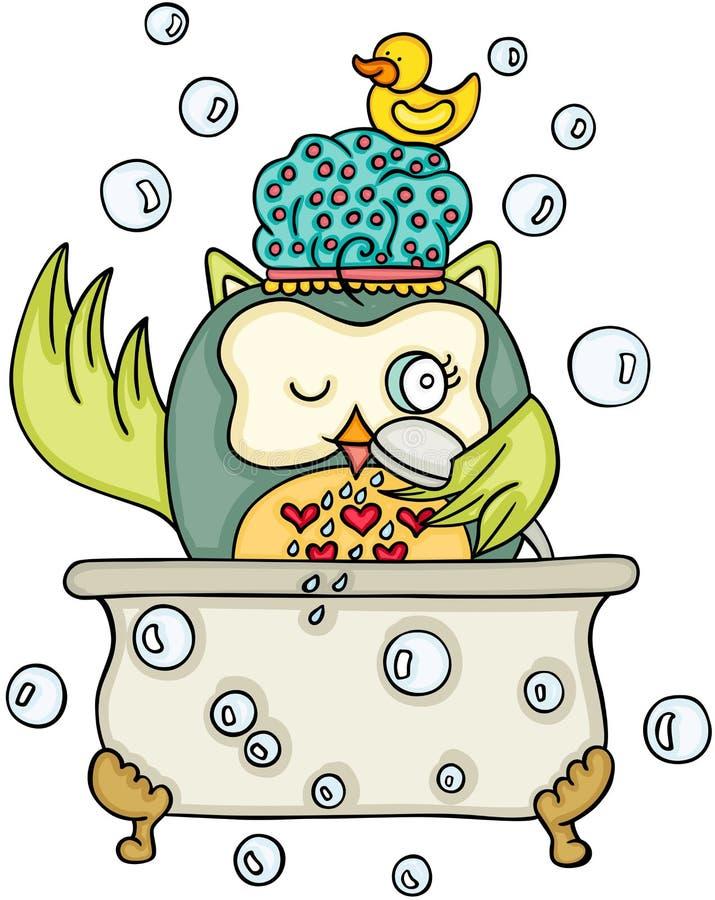 Nette Eule, die ein Bad nimmt lizenzfreie abbildung