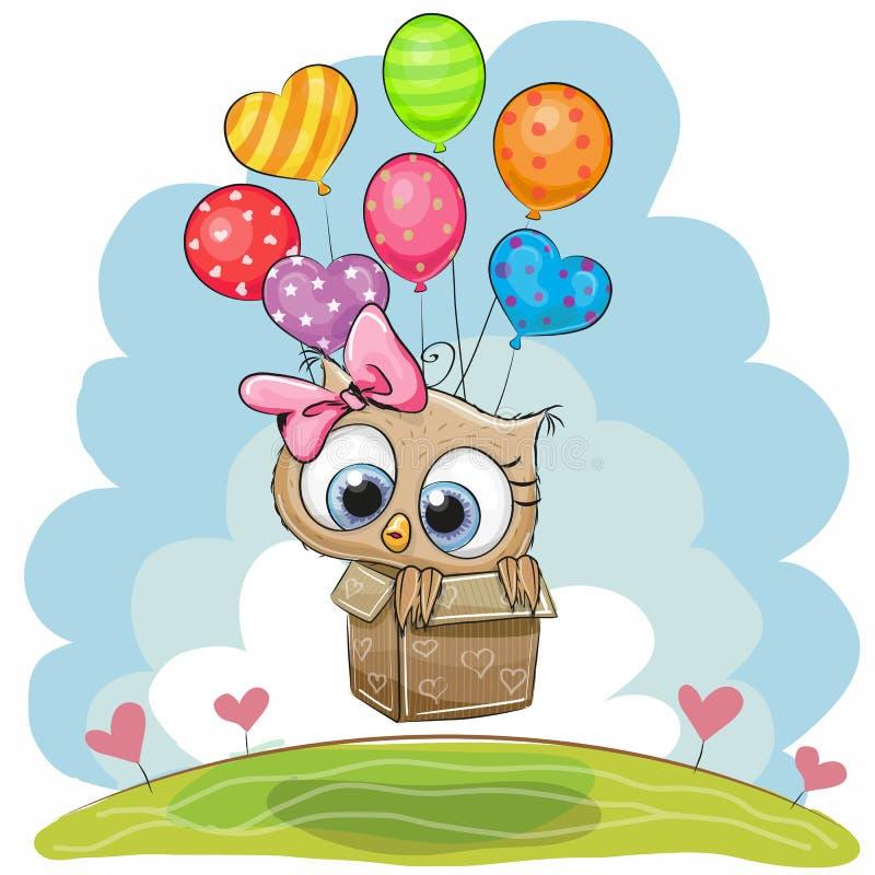 Nette Eule mit Ballonen stock abbildung