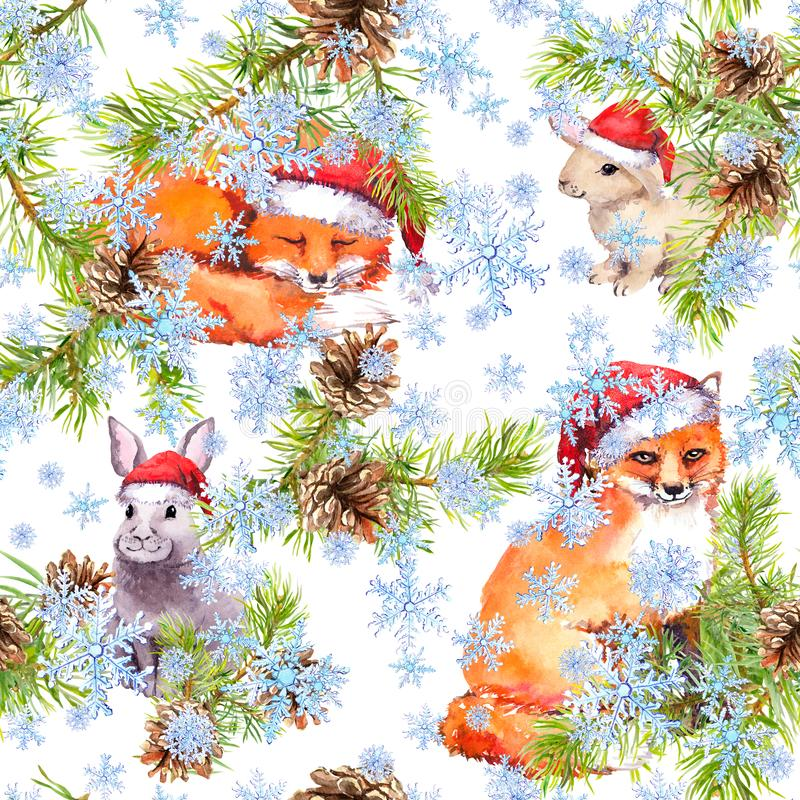 Nette Füchse, Kaninchen in den roten Feiertagshüten im Schneefall Tannenweihnachtsbaumaste, Kegel Nahtloses Muster für Weihnachte lizenzfreie abbildung