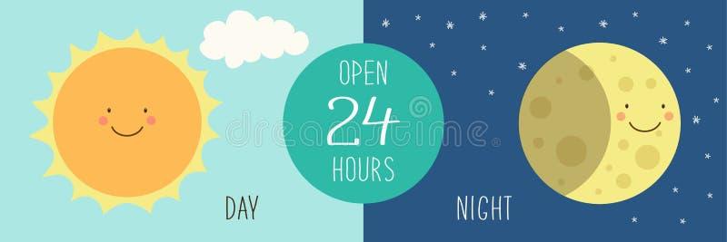 Nette Fahne für Tag und Nacht Shop mit Hand gezeichneten lächelnden Zeichentrickfilm-Figuren von Sun und von Mond stock abbildung