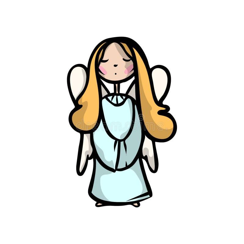 Nette Farbe des blonden Haares des Kinderengels liest ein Gebet vektor abbildung