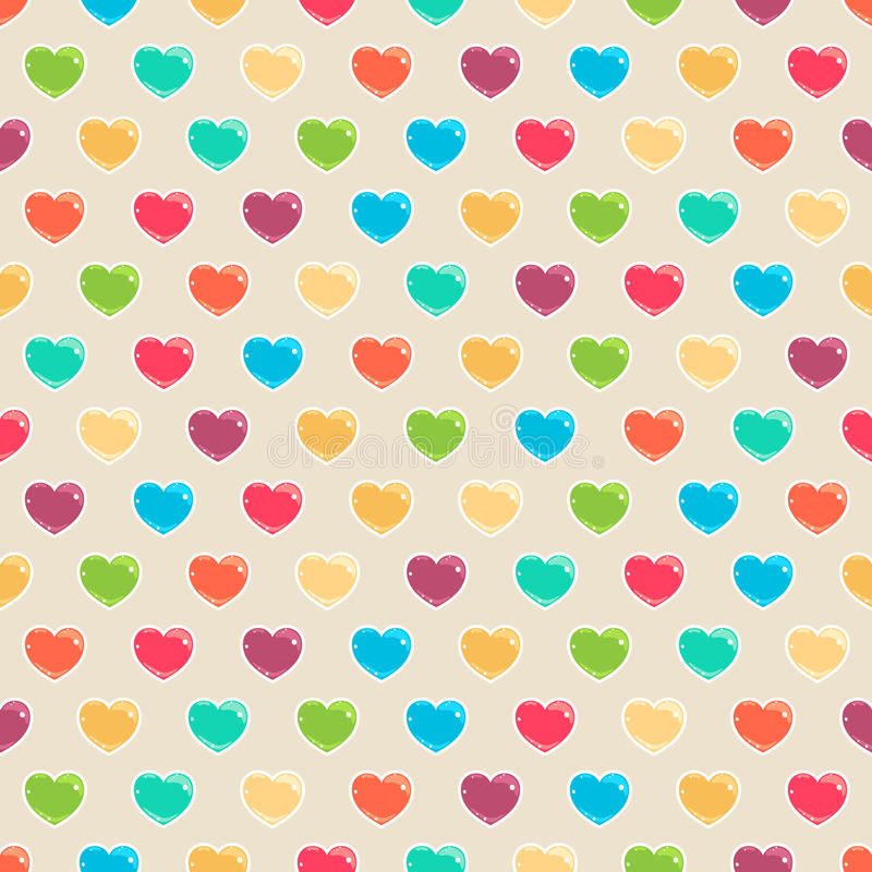 Nette farbige Herzen stock abbildung