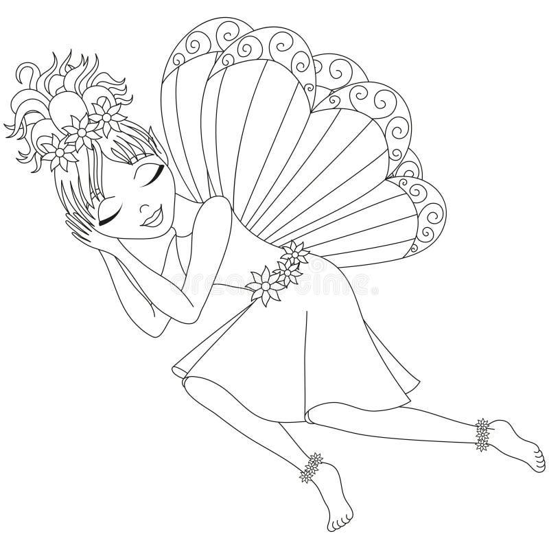 Nette Fee im Kleid schläft, Malbuchseite stock abbildung