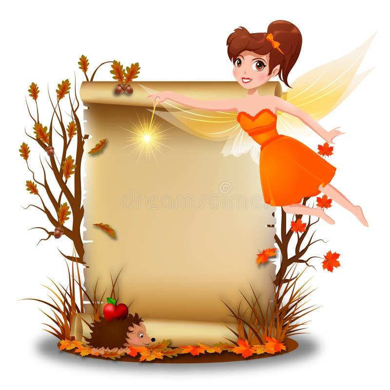 Nette Fee mit leerem Papier in der Herbstzeit stock abbildung