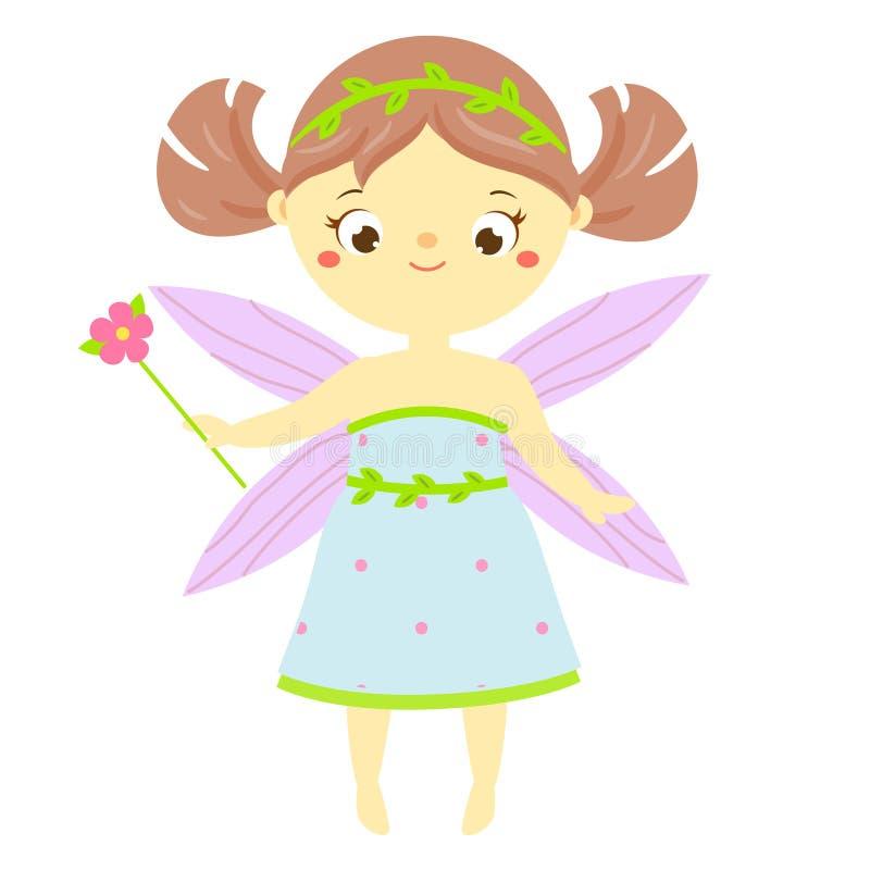 Nette Fee mit magischem Stab der Blume Kleine fliegende Prinzessin der Karikatur, Elf, Elfenphantasiecharakter vektor abbildung