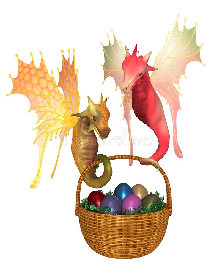 Nette feenhafte Drachen, die einen Korb von Ostereiern tragen stock abbildung