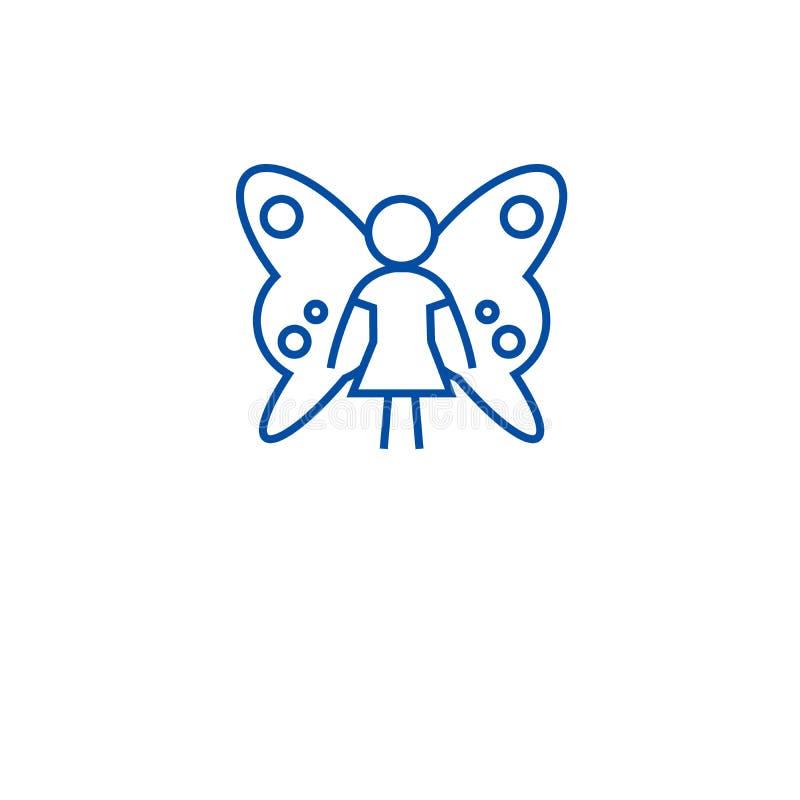 Nette feenhafte Linie Ikonenkonzept Nettes feenhaftes flaches Vektorsymbol, Zeichen, Entwurfsillustration stock abbildung