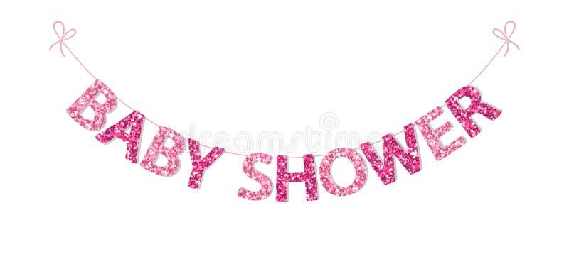 Nette festliche Weinleseflagge für Babyparty mit schönen Funkelnbuchstaben stock abbildung
