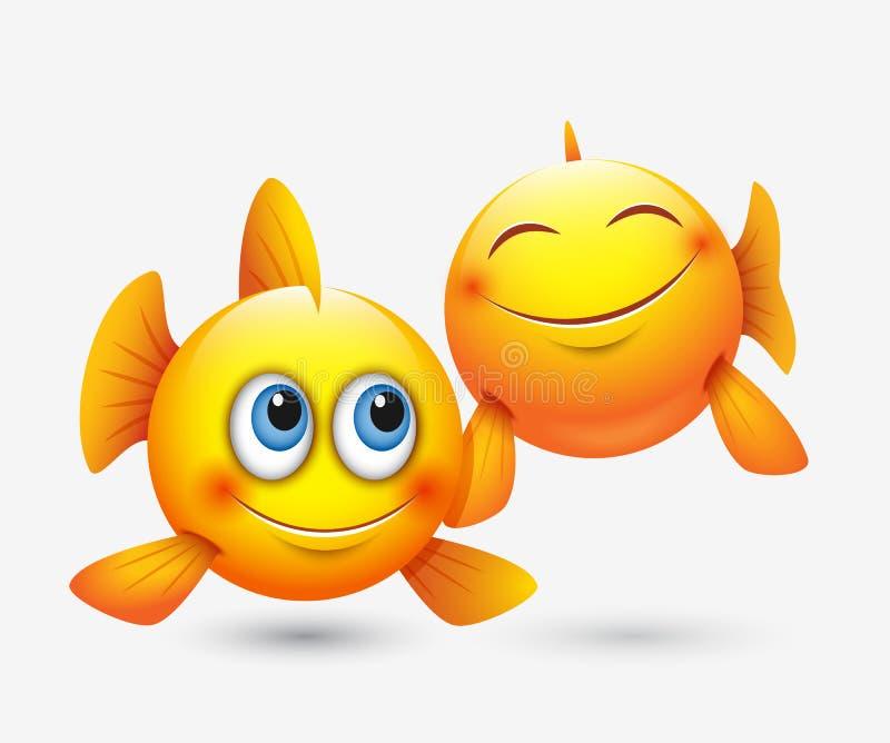 Nette Fisch-Emoticons, emoji - Tierkreiszeichen - Horoskop - vector Illustration stock abbildung