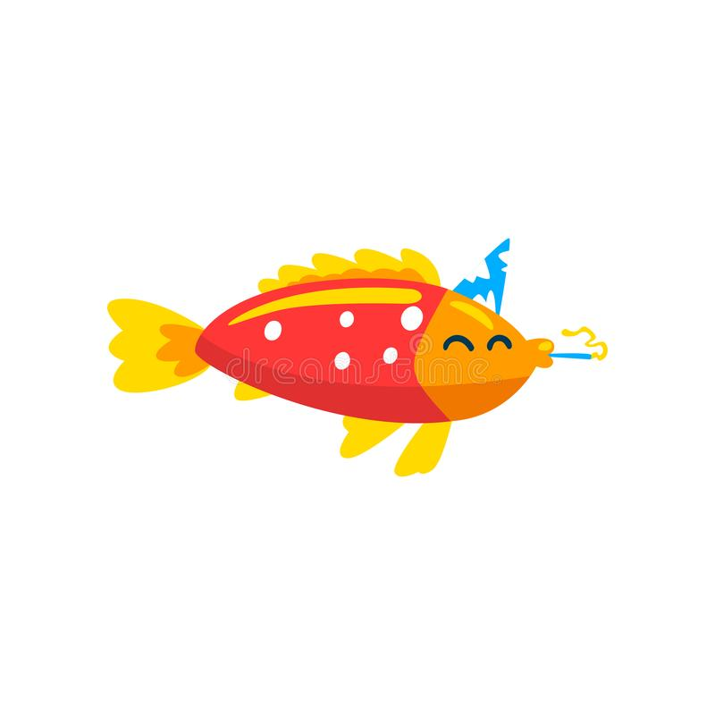 Nette Fische im Parteihut mit Hornisten, kleiner Meerestiercharakter, Marinethemagestaltungselement können für Kinder benutzt wer stock abbildung
