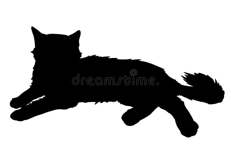 Nette flaumige Katzenlagen Vektorillustration des schwarzen Schattenbildes der Miezekatze lokalisiert auf weißem Hintergrund Elem lizenzfreie abbildung