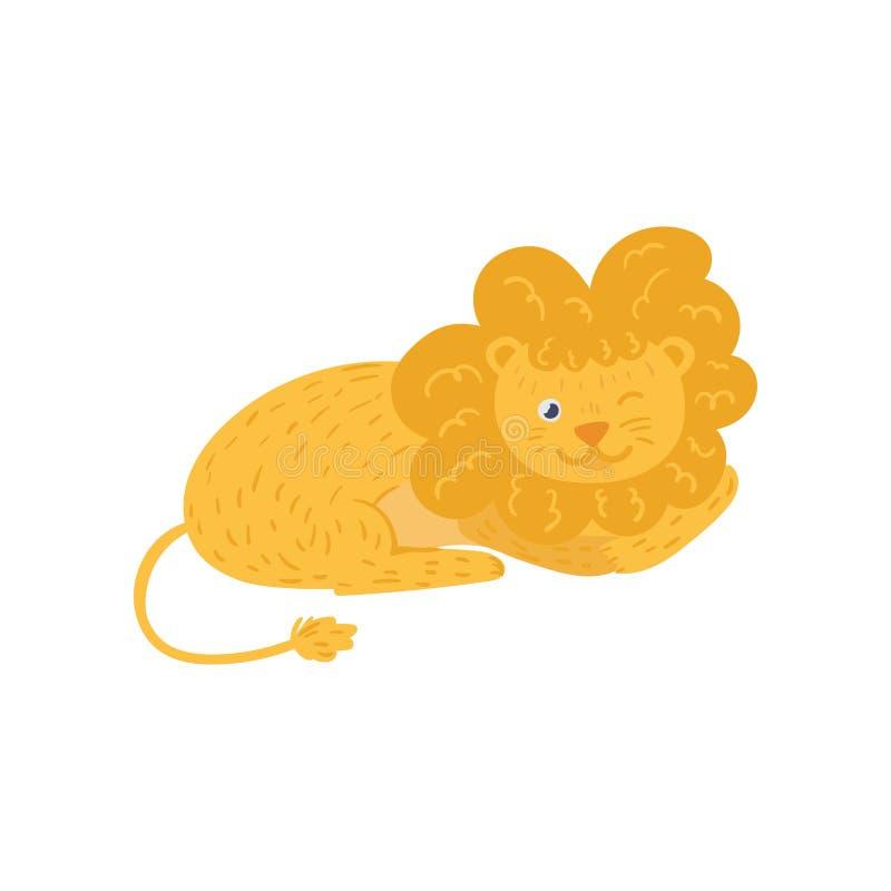Nette flaumige Löwe Lügen und Wink durch Auge Wildes afrikanisches Tier der Karikatur in der flachen Art Zoothema Flache Vektorsc stock abbildung