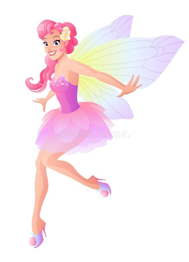 Nette Fliegenfee im rosa Blumenkleid mit Schmetterling beflügelt lizenzfreie abbildung