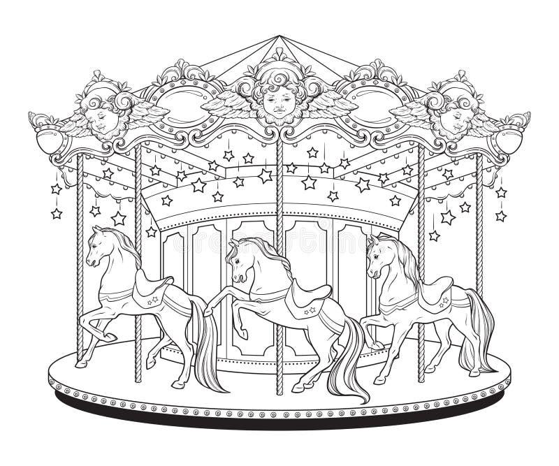 Nette fröhliche Karussell-La-Belle Epoques gehen Runde mit Pferdemalbuchseiten für Kinder und Erwachsene übergeben gezogene Vekto stock abbildung