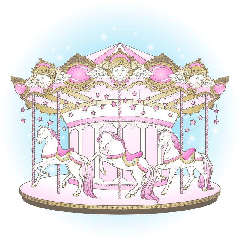 Nette fröhliche Karussell-La-Belle Epoques gehen Runde mit Pferden entwerfen für Kinder in Pastellfarbhand gezeichneter Vektorill lizenzfreie abbildung