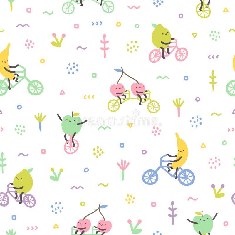 Nette Früchte der Karikatur auf Fahrrädern lizenzfreie abbildung