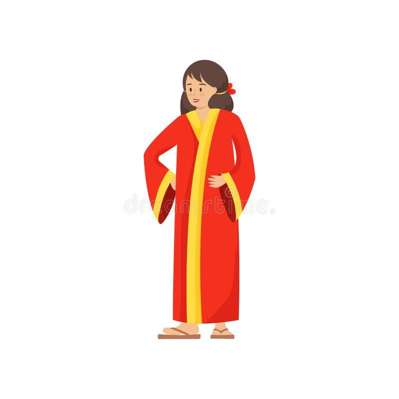 Nette Frau in der nationalen Kleidung des Porzellans, rote Farbe stock abbildung