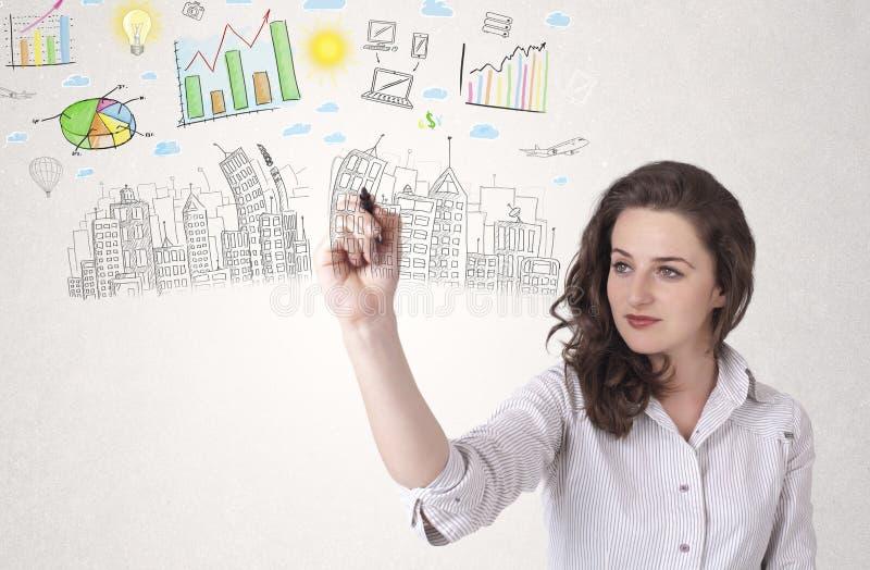 Nette Frau, die Stadt- und Diagrammikonen skizziert lizenzfreies stockfoto