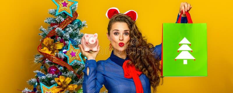 Nette Frau, die Weihnachtseinkaufstasche und -Sparschwein zeigt stockfotos