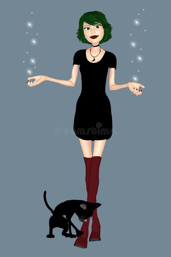 Nette Frau in einem schwarzen Kleid mit ihrer Katze stock abbildung