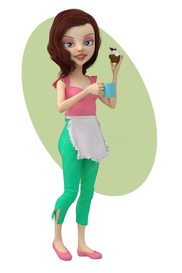 Nette Frau mit Kaffee und einem Muffin lizenzfreie abbildung