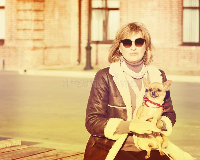 Nette Frau und ihr Chihuahua-Hund auf Natur-Hintergrund stockfoto