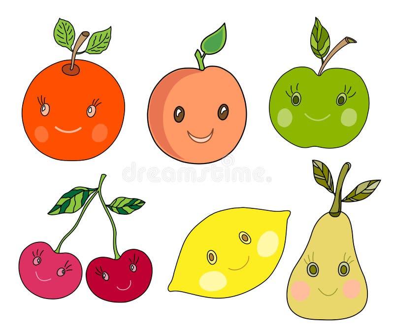 Nette Frucht in kawaii Art lizenzfreie abbildung
