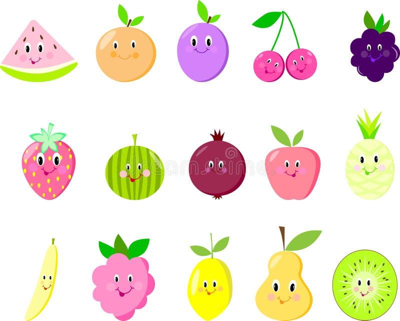 Nette Frucht lokalisierte Granat, Himbeere, Schauspieler, Wassermelone vektor abbildung
