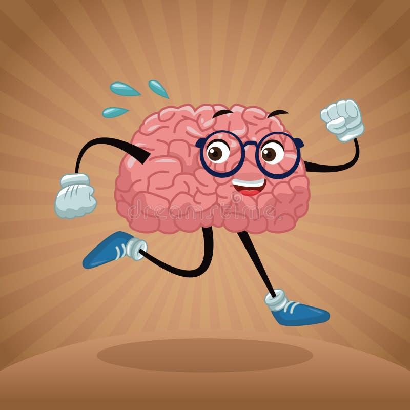 Nette Gehirnkarikatur vektor abbildung