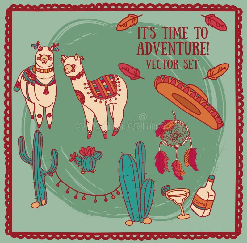Nette Gekritzel alapacas und Kaktusdekoration und traditionelles mexikanisches Material in boho Art lizenzfreie abbildung